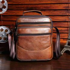 Men's Strap Business Bag Popular Design Practical Shoulder Bag Exquisite Workmanship Vertical Handbag (Tan)