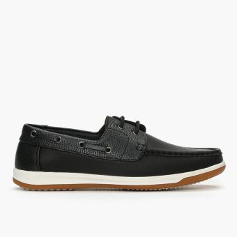 Milano Mens Iris Boat Shoes (Black)