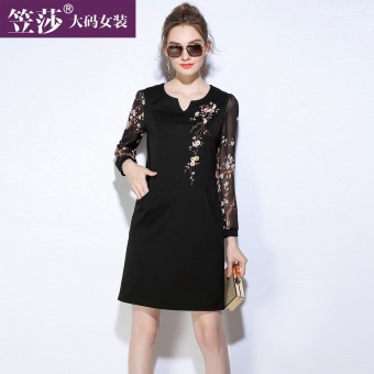 MM New style female long-sleeved Tibetan Plus-sized dress