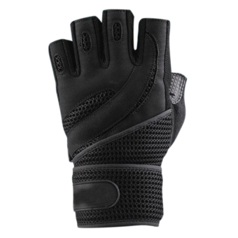 Moonar Sports Mitten Gloves Half-finger with Breathable Wrist Wrap (Black)