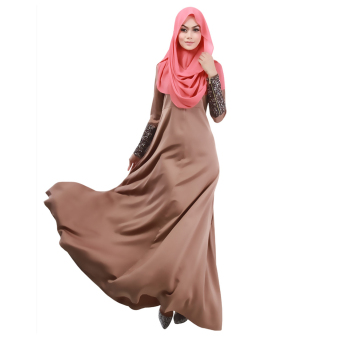 Muslim Women Fashion Long-sleeved Dress (Coffee) - Intl