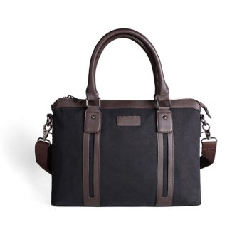 New Men's Business Canvas Briefcase Handbag Cross-body Bags (Black)