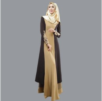 New Muslim Abaya Islamic Clothes For Women Muslim Long Sleeve Maxi Dress Turkish Islamic Abaya Women Muslim Dress 2017 Black - intl