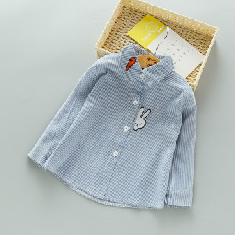 New style children's striped girls shirt embroidered Top