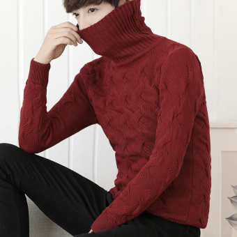 New style high collar sweater (Red)