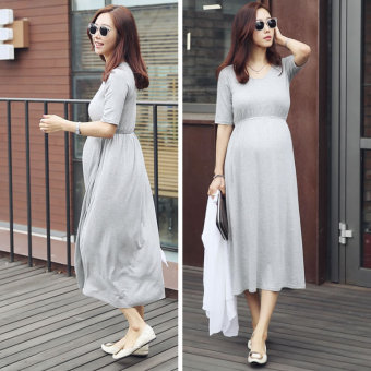 New style Plus-sized pregnant women's dress (Light gray color)