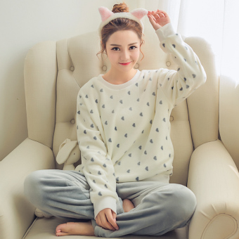 New Winter thick coral velvet pajamas (201 heart)