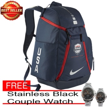 Nike Hoops Elite Max Air USA Backpack Blue with free Silver-Stainless/Black couple Watch