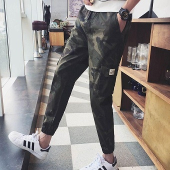 Ocean New Fashion Men Joggers Pants Camouflage Leisure Casual Microelastic Pencil pants(Army Green) - intl