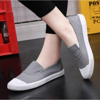 Ocean NEW Ladies fashion Flat shoes Han edition Canvas shoes(Grey) - intl