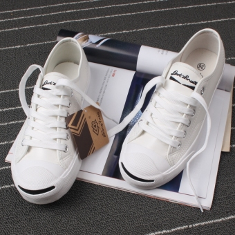 Open smile female lace canvas shoes (White [Leather])