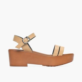 Parisian Basic Ladies Penly Wedge Sandals (Beige)