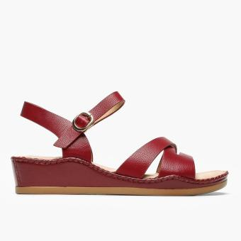 Parisian Plus Ladies Orian Wedge Sandals (Maroon)