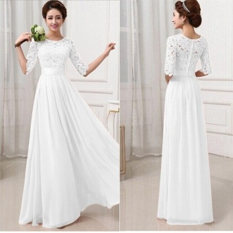 Party Dresses For Women Long Dress Lace Chiffon Patchwork Maxi Dress(White) - intl