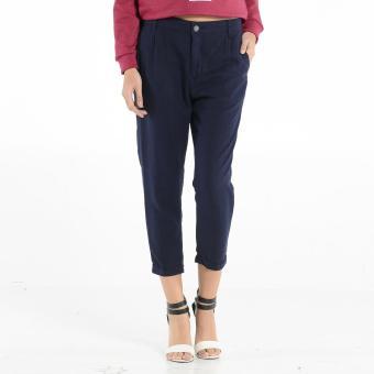 Penshoppe Cropped Linen Trousers (Navy Blue)