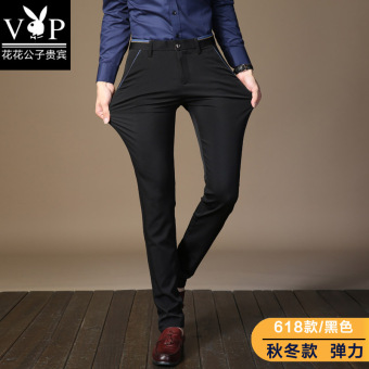 PLAYBOY Korean-style men Slim fit straight Pants pants (Black version2)