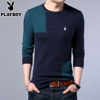 PLAYBOY Shishang men's round neck warm Top thick long-sleeved t-shirt (Xaj-1717 blue)