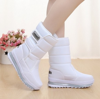 Plus velvet waterproof warm cotton-padded shoes thick wool boots snowfield boots (Women's + G11-white)