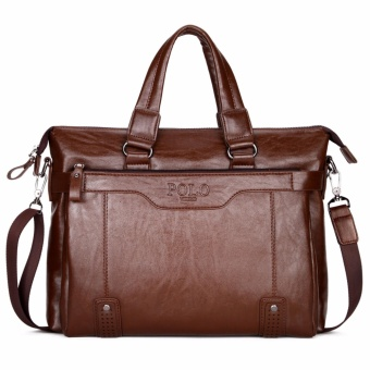 Polo Men's Genuine Cowhide Leather Poratable Handbag Male Korean Fashion High-capacity Shoulder Bag Cross-Body Bag Youth Business Casual Tote Bag Briefcase-Brown - intl