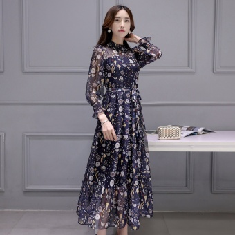 Posey Mia female long section floral dress New style dress