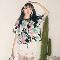 Prapra Flower Print Cute Girl T-Shirt Korean Harajuku T-shirt Kawaii Tees Summer