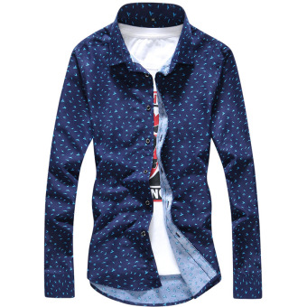 Qiudong Korean-style Plus velvet male long-sleeved casual plaid shirt warm shirt (Dark blue feather)