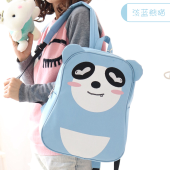 Rain where the cute children's men and women school bag Oxford Cloth shoulder bag (Light blue PANDA) (Light blue PANDA)