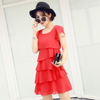 Red sleeveless loose in the long section chiffon dress (Red)