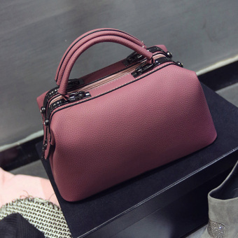 Retro New style portable big bag women's bag (Dark Pink) (Dark Pink)