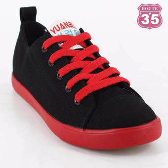 ROUTE35 Hailee Lace-up Sneaker Rubber Shoes (Black W-727)