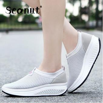 Seanut New Height Increasing Shoes Casual Women Swing Breathable Wedges Shoes (Grey) - intl