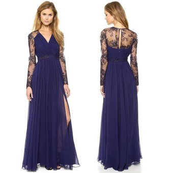 Sexy Lace Chiffon Evening Formal Party Cocktail Long Dress Bridesmaid Prom Gown - intl