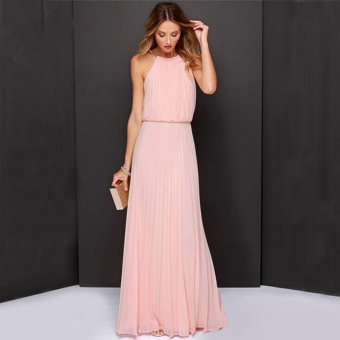 Sexy Women Lace Long Maxi Prom Gown Evening Cocktail Chiffon Party Wedding Dress Pink - intl