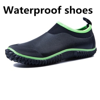 SHINE Men's Short Boots Rain Shoes Fluorescent Green Low To HelpFashion Rubber Rain Boots Car Wash Shoes Shoes(black) - intl