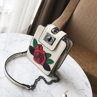Shishang female New style flower mobile phone bag small bag (Verticle beige)
