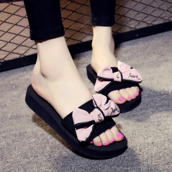 Shishang female outerwear A-line slippers non-slip sandals (BZ666HDJ pink)