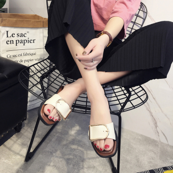Shishang New style female outerwear slippers (Buckle of off-white color)