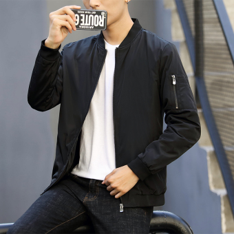 Simple Spring and Autumn New style casual models jacket men's jacket (Black)