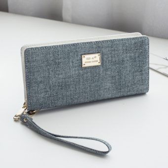 Simple women long zip Japanese and Korean style wallet New style wallet (Linen blue)
