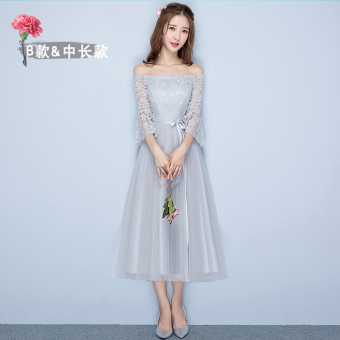Sisters Korean-style female New style short evening dress bridesmaid dress (Gray mid-length B Section 968)