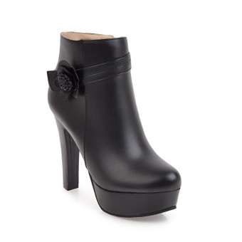 Size Korean-style female Spring and Autumn single boots ultra-high-heeled short boots (Black)