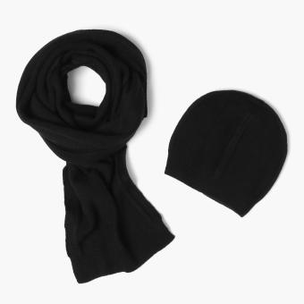SM Accessories Ladies Knitted Muffler and Beanie Set (Black)