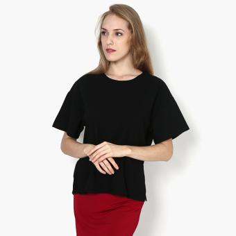 SM Woman Drop-shoulder Boxy Top (Black)