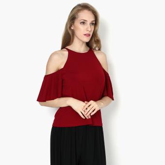 SM Woman Halter Cold-shoulder Top (Red)