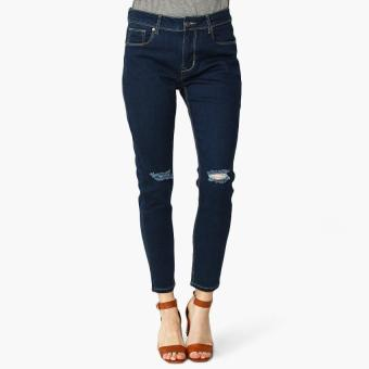 SM Woman Knee-Ripped Skinny Jeans (Blue)