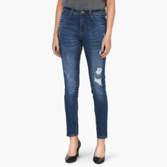 SM Woman Medium Wash Distressed Skinny Jeans (Indigo)