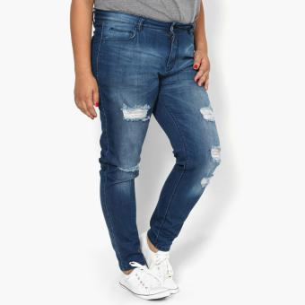 SM Woman Plus Distressed High-waist Skinny Jeans (Blue)