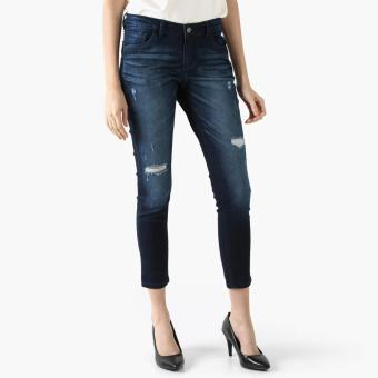 SM Woman Subtle Distressed Skinny Jeans (Navy Blue)