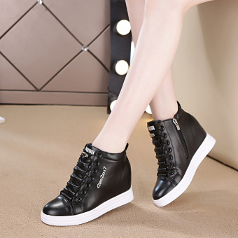 Sports female New style white shoes elevator women's shoes (809 black shoes)