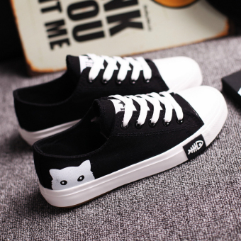 Sports Korean-style black girls shoes canvas shoes (Black)